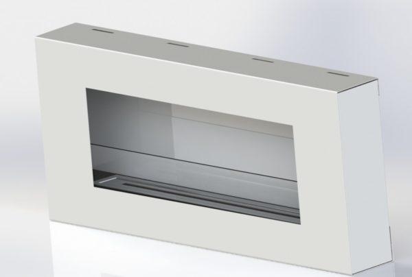 Biocamino mod Flat Pro 90 cm - camino al bioetanolo Bianco con vetro