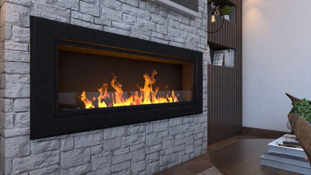 Biocamino mod Globo Nero da 150 cm con 10 bruciatori - con vetro